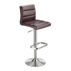 Swank Adjustable Padded Faux Leather Kitchen Bar Stool, Brushed Steel, Brown