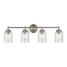 Winslow 4-Light Bath Vanity, Brushed Nickel, Clear Seeded Glass