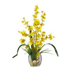 Nearly Natural Artificial Flower Dancing Lady Orchid Liquid Illusion, Yellow