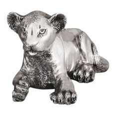 Silver Lion Cub Laying Sculpture A57