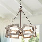 3-Light Rustic Wood Chandelier