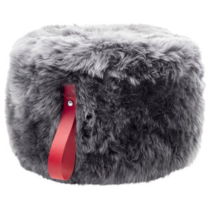 Round Sheepskin Pouffe, Grey With Red Strap