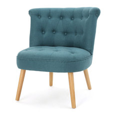 GDF Studio Donna Plush Modern Tufted Accent Chair, Dark Teal