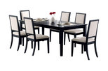 Lexton Dining Black Table With Square Legs 6 Creme Chenille Seats, 7-Piece Set
