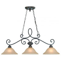 Three Light Mocha Bronze Painted Etched Glass Island Light