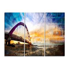 """Color Red Bridge Sunset Taiwan"" Wall Art, 3 Panels, 36""x28"""