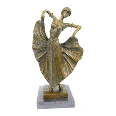 Art Deco Flair Dancer Bronze Sculpture By Chiparus Statue Marble Figurine Decor