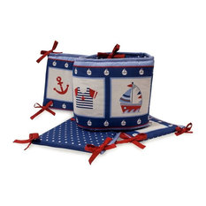 LAMBS & IVY - Sail Away 4-Piece Crib Bumper  by  Bedtime Originals  -  Blue, Red, White, - Crib Accessories