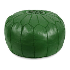 Moroccan Leather Stuffed Pouf, Dark Green