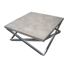 Trueform Concrete Mobius Concrete Coffee Table Limestone 36x36 Coffee Tables