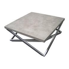 Trueform Concrete   Mobius Concrete Coffee Table, Limestone, 36x36   Coffee  Tables