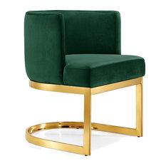 Superbe Gianna Velvet Dining Chair, Green, Gold Base