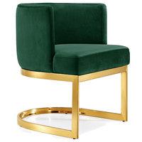 Gianna Velvet Dining Chair, Green, Gold Base