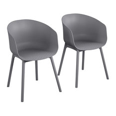 Set Of 2 Dining Chair Charcoal Resin Construction With Extra Large Seat