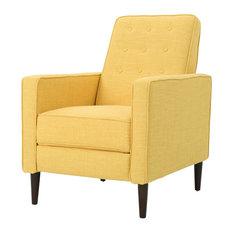 Gdfstudio Mason Mid Century Modern Tuft Back Recliner Fabric Muted Yellow
