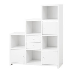 Coaster Asymmetrical Reversible Cube Storage Compartment Bookshelf Bookcase Cabinet Wh Bookcases