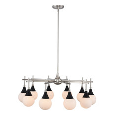 Bogart Chandelier, Matte Black W Polished Nickel, 10-Light