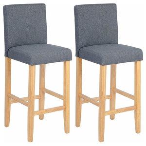 Set of 2 Bar Stools Upholstered, Linen Fabric, Dark Grey and Natural Wood