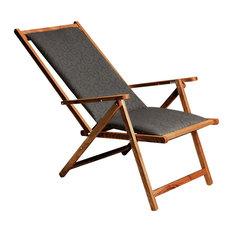 PALMAR - Demetra Cushioned Foldable Chair, Walnut Stain - Sun Loungers