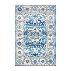 Transitional Medallion Floral Rug, Aqua, 5