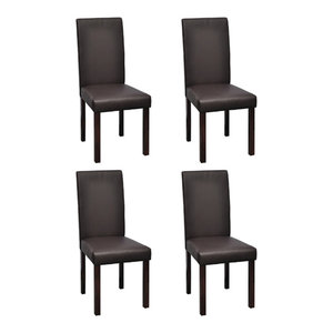 Set of 4 Faux Leather Dining Chairs, Phillip, Brown