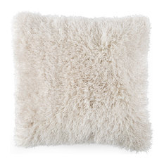 "Lavish Home Shag Floor Pillow 21""x21"", Beige"