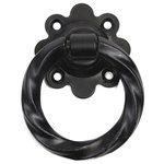 """Gatemate - Twisted Ring Handle, Black, 3"""", Handle Only - Decorative option as a Pull Handle. Fasteners Included. Front face mounting plate: 2 1/2 in. x 2 1/2 in. Thickness of :3/8 in."""
