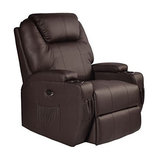 Modern Recliner, PU Leather With Armrest and 8 Massage Points, Brown
