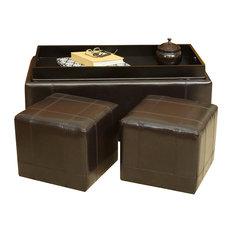 GDF Studio 3-Piece Five Brooks Espresso Leather Ottomans, Set