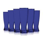 Cobalt Blue Grand Pilsner Glasses Fully Colored, 23 oz. Set of 6