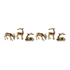 Zodax - 6-Piece Reindeer Christmas Figurine Holiday Decor Set, Gold - Holiday Accents and Figurines