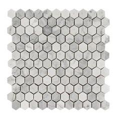 """Hexagon Honed Tile, Arabescato Carrara, 10 Sq. ft., 1""""x1"""""""