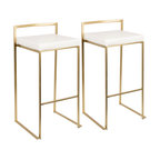 LumiSource Fuji Barstool, Gold and White PU, Set of 2