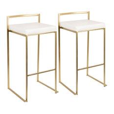 Fuji Bar Stools, Set of 2, Gold, White