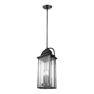 Feiss Wellsworth 3 Lights Outdoor Pendant Lantern, Antique Bronze