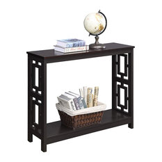 Transitional Console Table MDF Construction With Square Side Accent Espresso