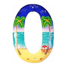 Tropical Beach House Numbers Haitian Metal Art Number 0