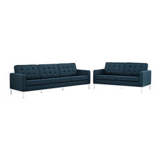 Azure Loft 2 Piece Upholstered Fabric Sofa And Loveseat Set