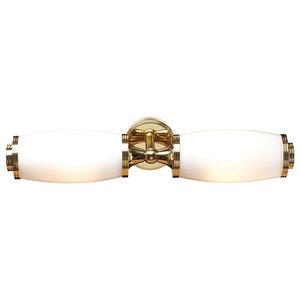 Bathroom Twin Wall Light, Polished Brass