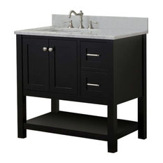 "Cabinet Mania Espresso Shaker 36"" Bathroom Vanity Open Shelf With Marble Top"
