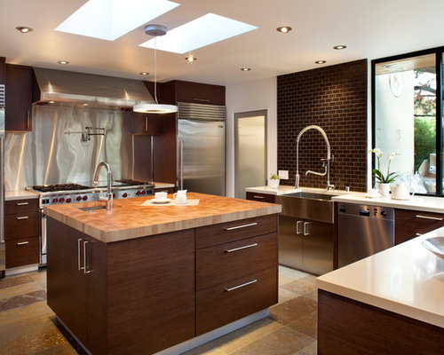 Contemporary kitchen with brown backsplash design ideas & remodel ...