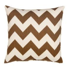 The Grouchy Goose by Glenna Jean - Chevron Linen, Chocolate/Bone Velvet - Decorative Pillows