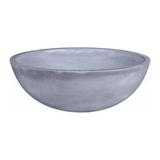 Modern Concrete Small Round Bathroom Vessel Sink, 14 Inch, Choice of Colors, Lig