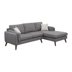 Founders Light Gray Cotton Blended Fabric Sectional Sofa Chaise