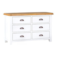 Padstow Painted Oak 6-Drawer Chest, White