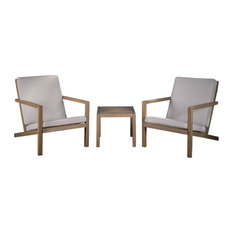 GDF Studio 3-Piece Lester Outdoor Acacia Wood Chat Set With Cushions