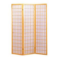 Coaster Three Panel Folding Floor Screen, Natural Blonde