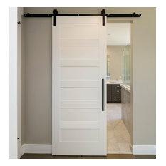 Shaker Panel Barn Door with 10 different panel designs + Carbon Steel Hardware,