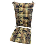 Barnett Home Decor - Woodlands Brentwood Rocking Chair Cushion Set, XL - Woodlands Brentwood rocking chair cushions are made in a tapestry featuring bears, elk, pine trees and pine cones. Reversible. Lodge Style Decor. Cushions reverse to a solid color fabric in a coordinating color.