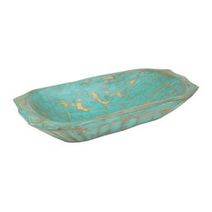 Deep Wooden Dough Bowl With Handles, Turquoise